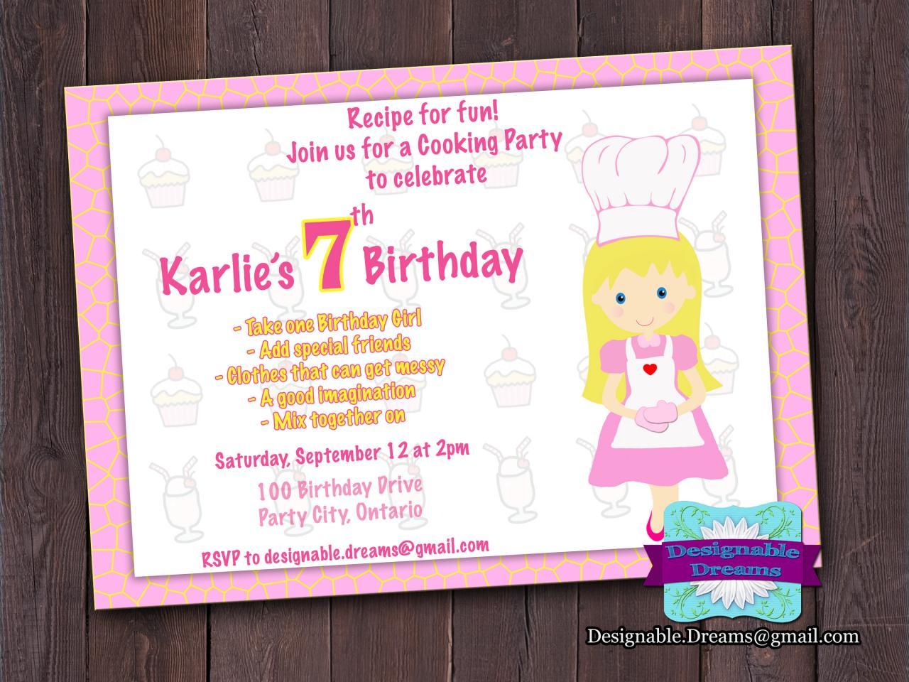 Baking/Cooking Invitation