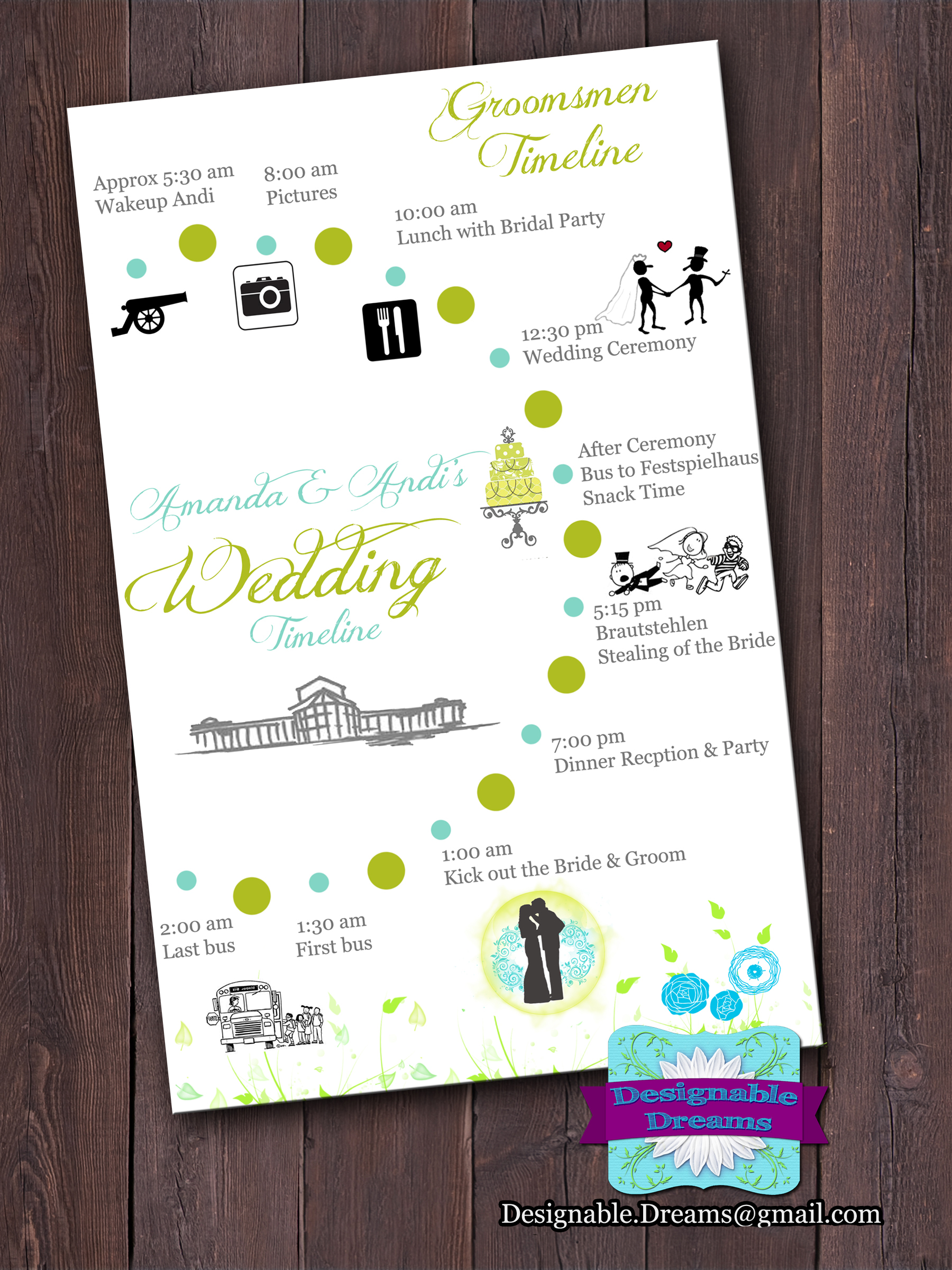 Customized Wedding Timeline Card On Luulla