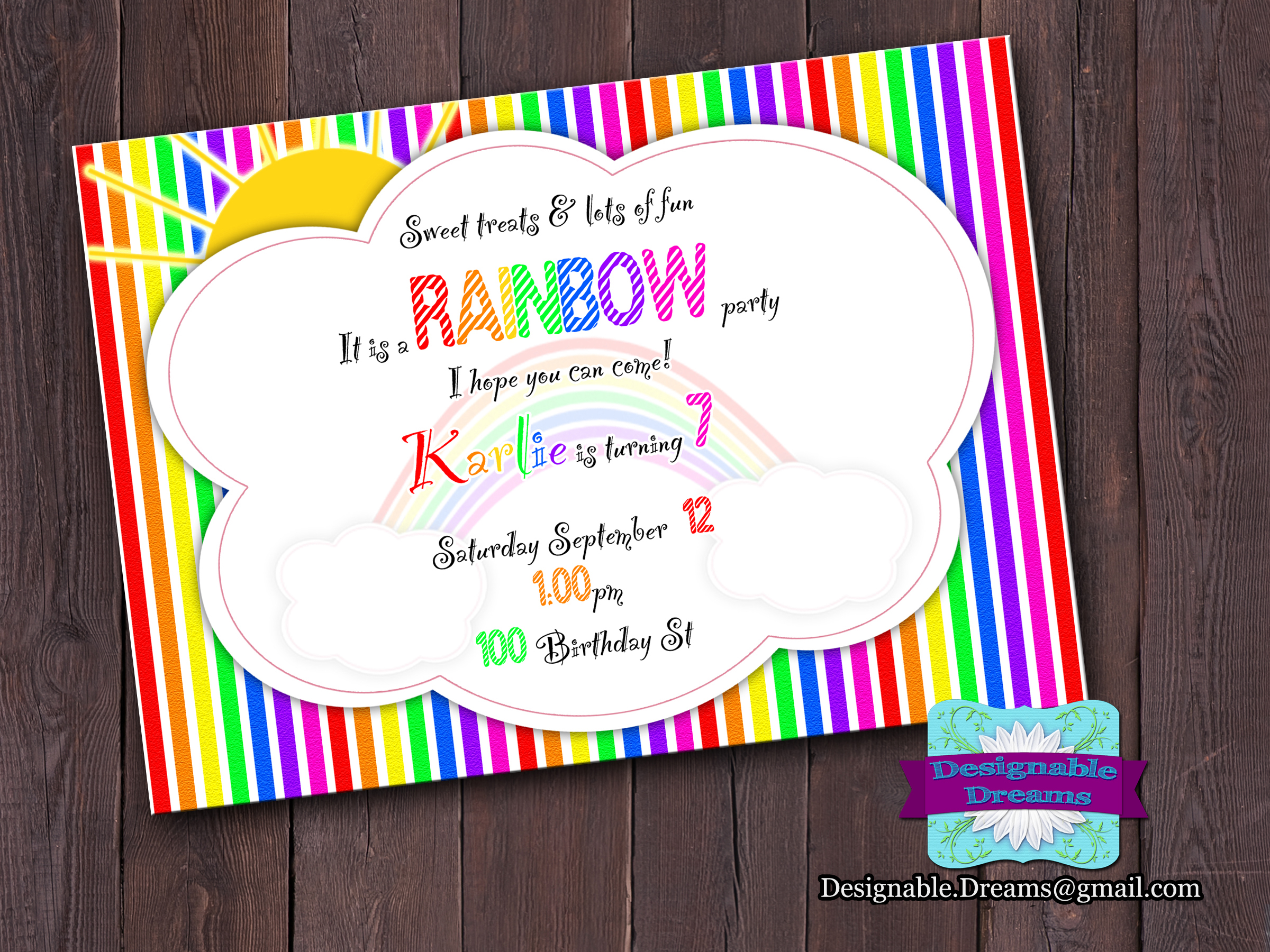 Rainbow Birthday Invitation on Luulla