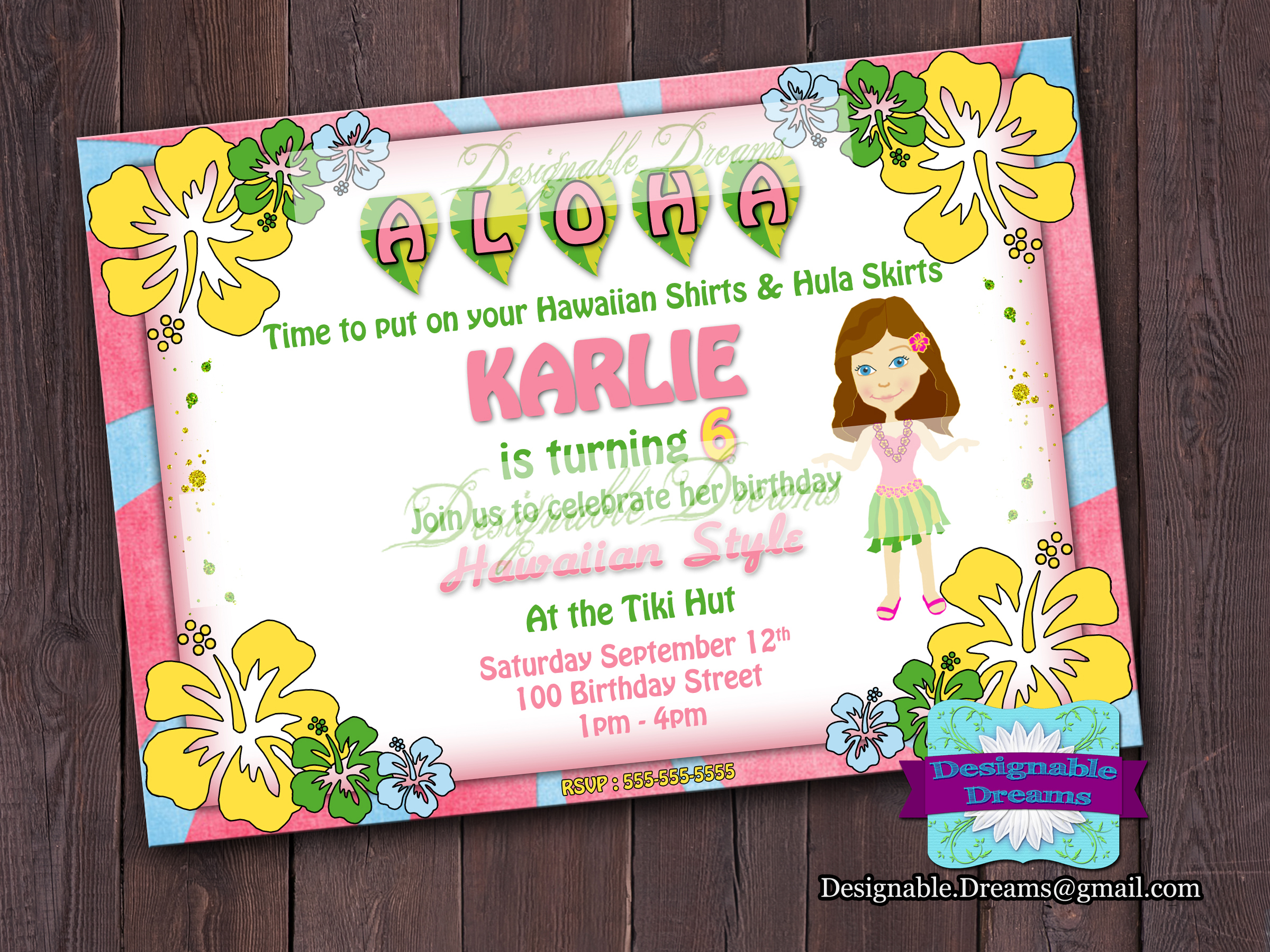 Hawaiian Luau Birthday Invitation on Luulla