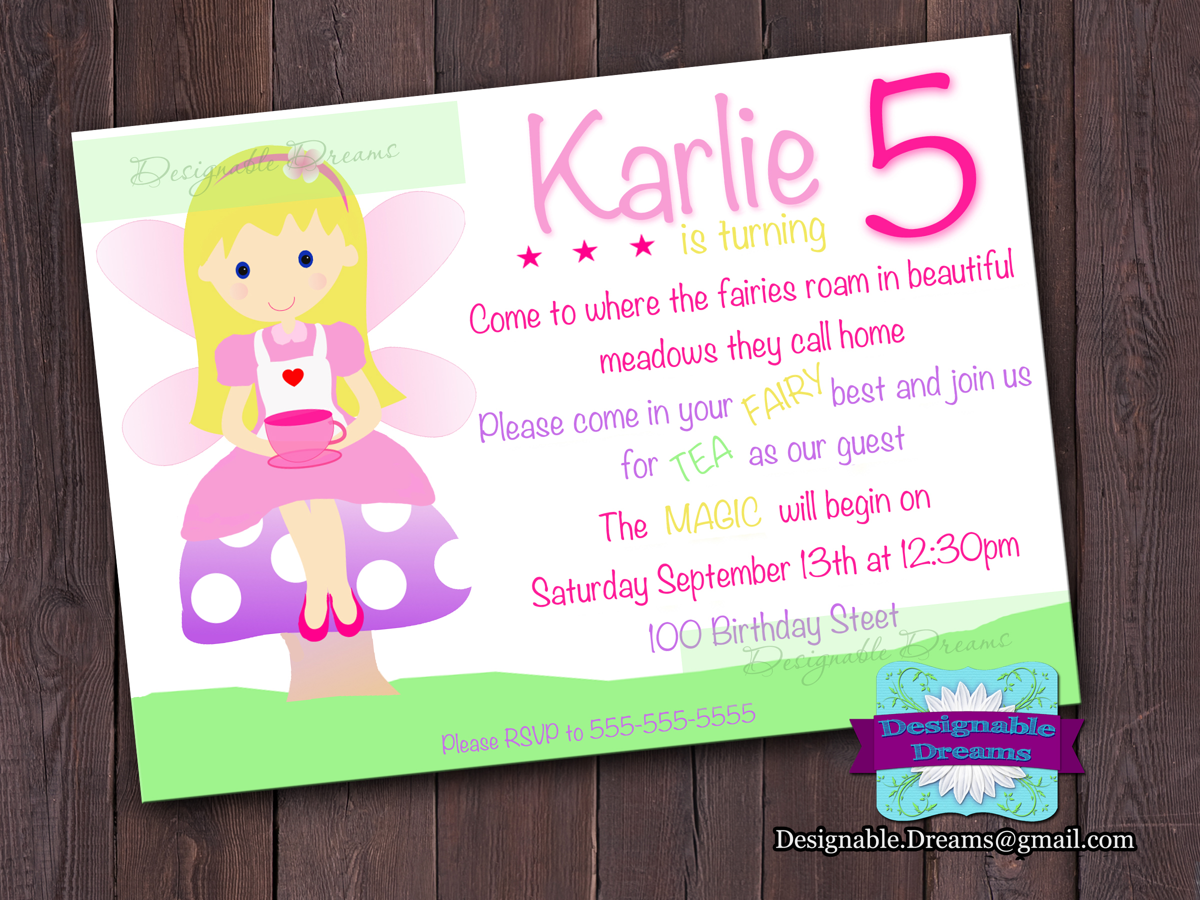 Fairy Tea Party Invitation on Luulla – Fairy Tea Party Invitations
