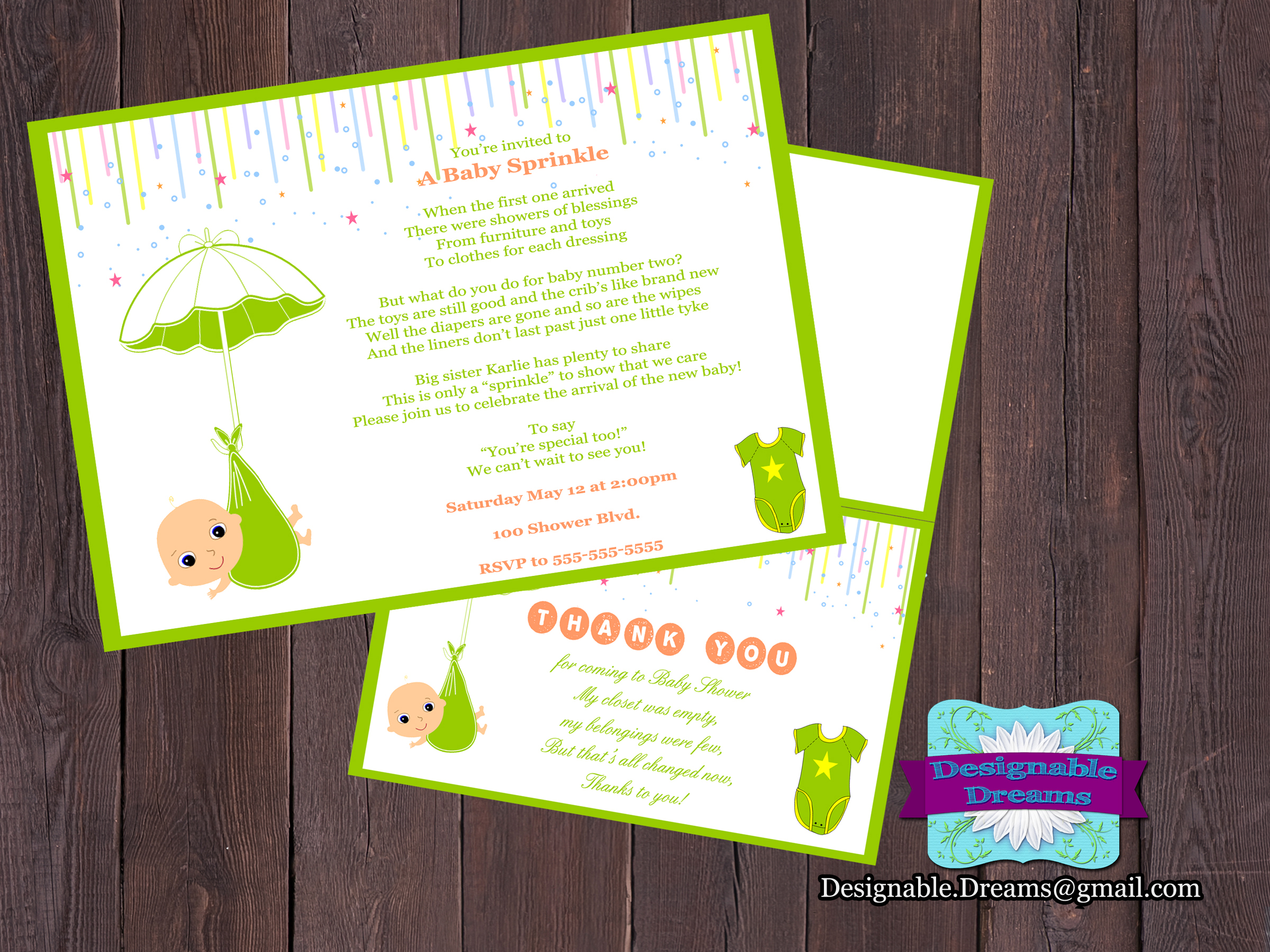 Baby Sprinkle Invitation & Thank You Card on Luulla